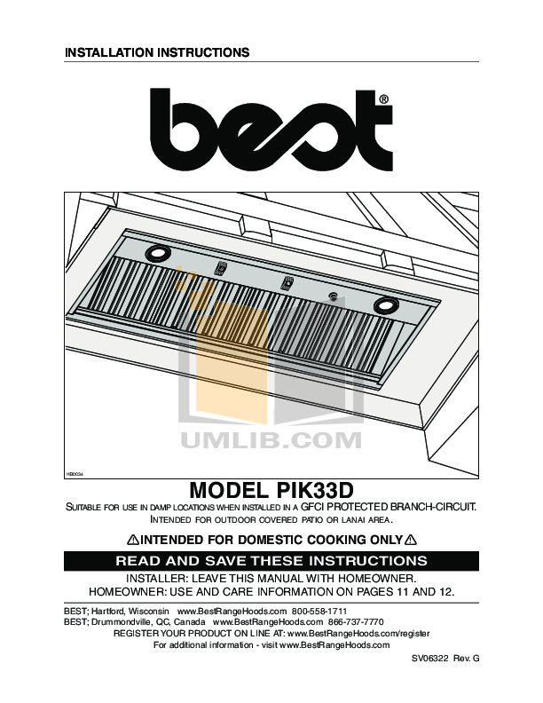 pdf for Broan-NuTone Other L3336D Hood Liners manual