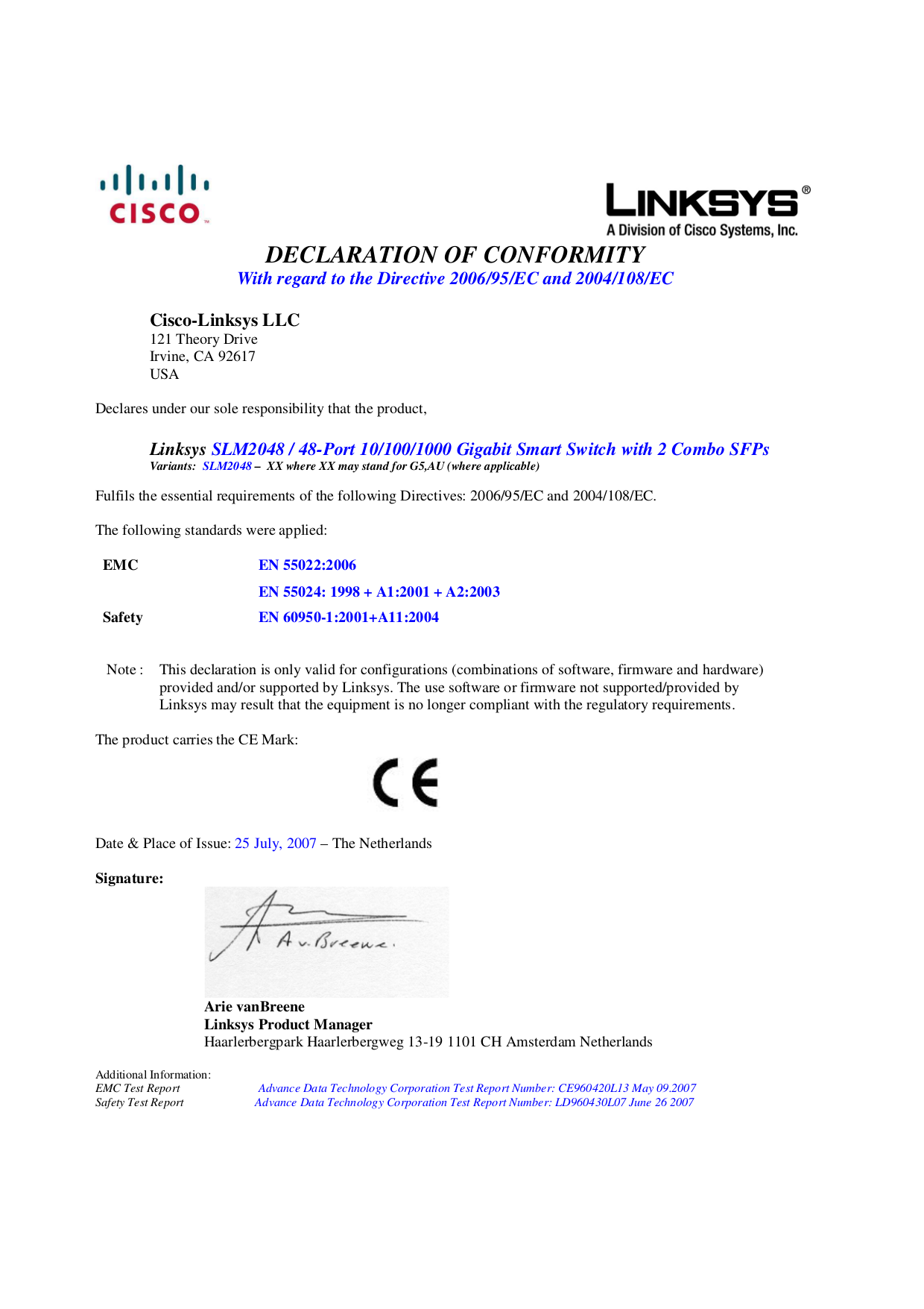 pdf for Linksys Switch SLM2048 manual