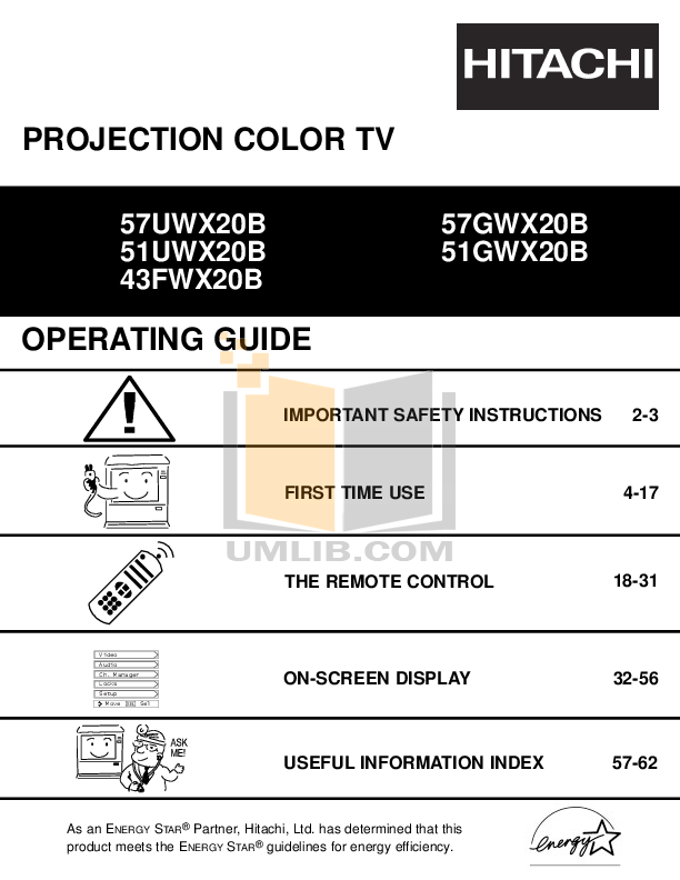 pdf for Hitachi TV 51GWX20B manual