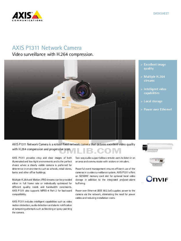 pdf for Axis Security Camera P1311 manual