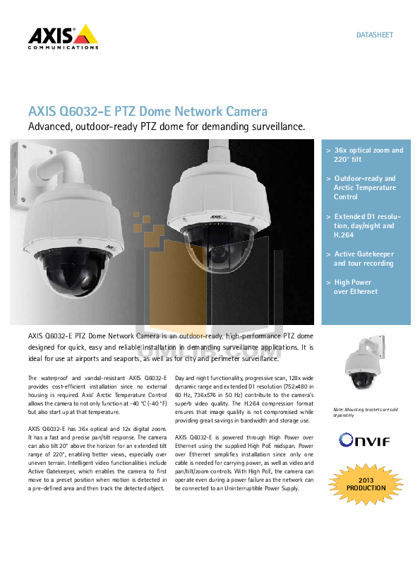 pdf for Axis Security Camera Q6032-E manual