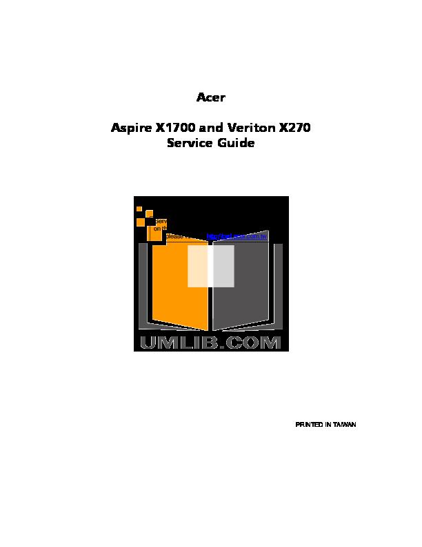 pdf for Acer Desktop Veriton X270 manual