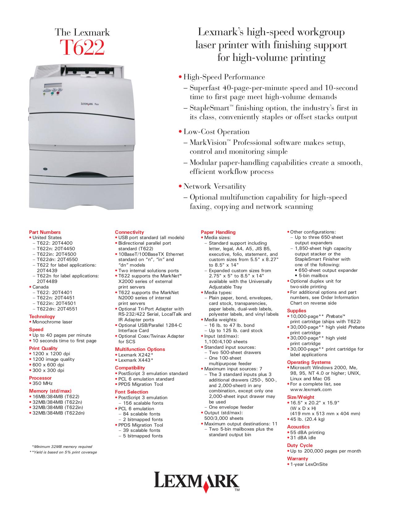 pdf for Lexmark Printer T622n manual