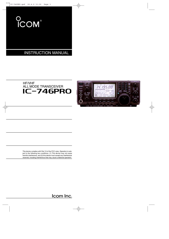 download free pdf for icom ic 746pro 2 way radio manual rh umlib com Icom 746 Ham Radio Icom 746 Original