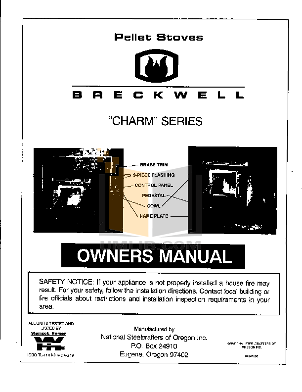 pdf for Breckwell Heating Cooling and Air Charm P22I manual