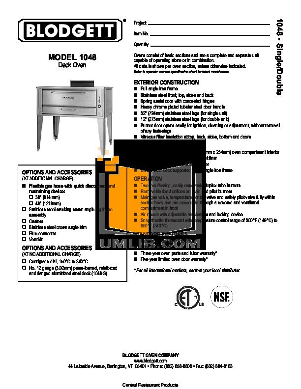 pdf for Blodgett Oven 1048 ADDL manual