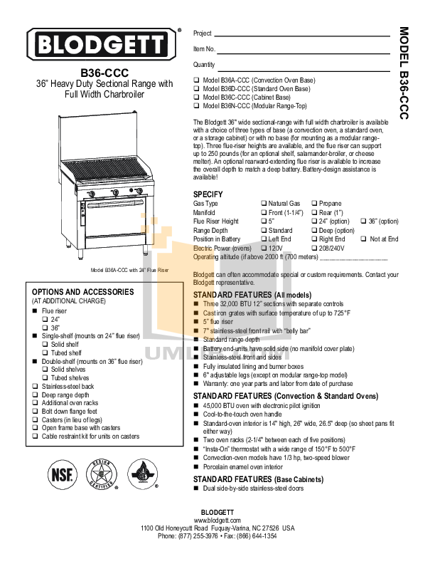 pdf for Blodgett Range B36C-CCC manual