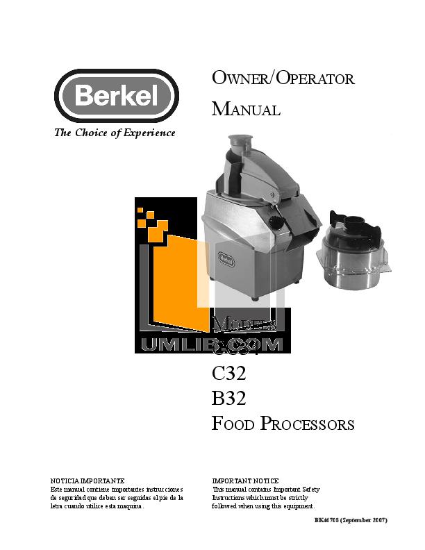 pdf for Berkel Food Processor 1810 manual
