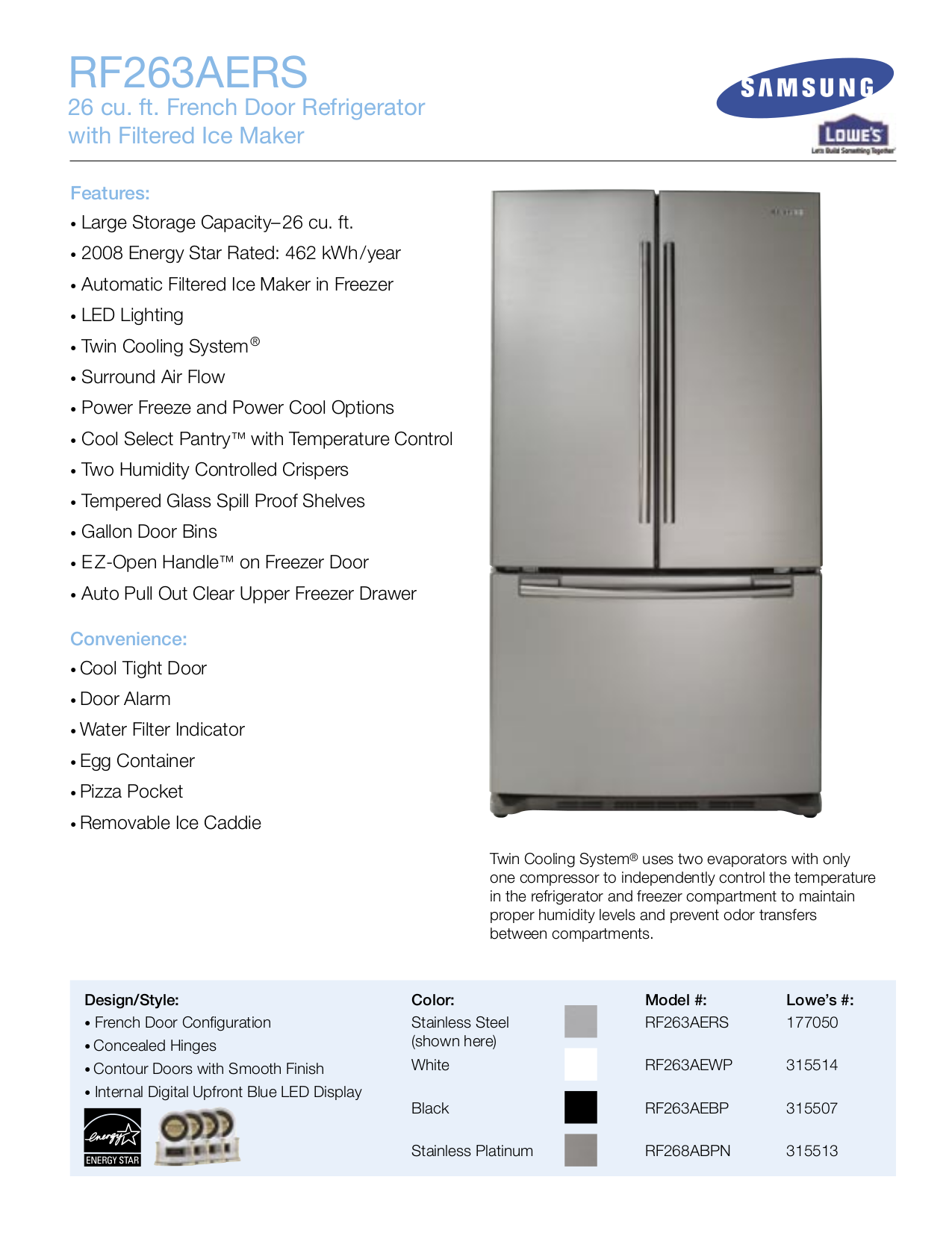 pdf for Samsung Refrigerator RF268ABPN manual