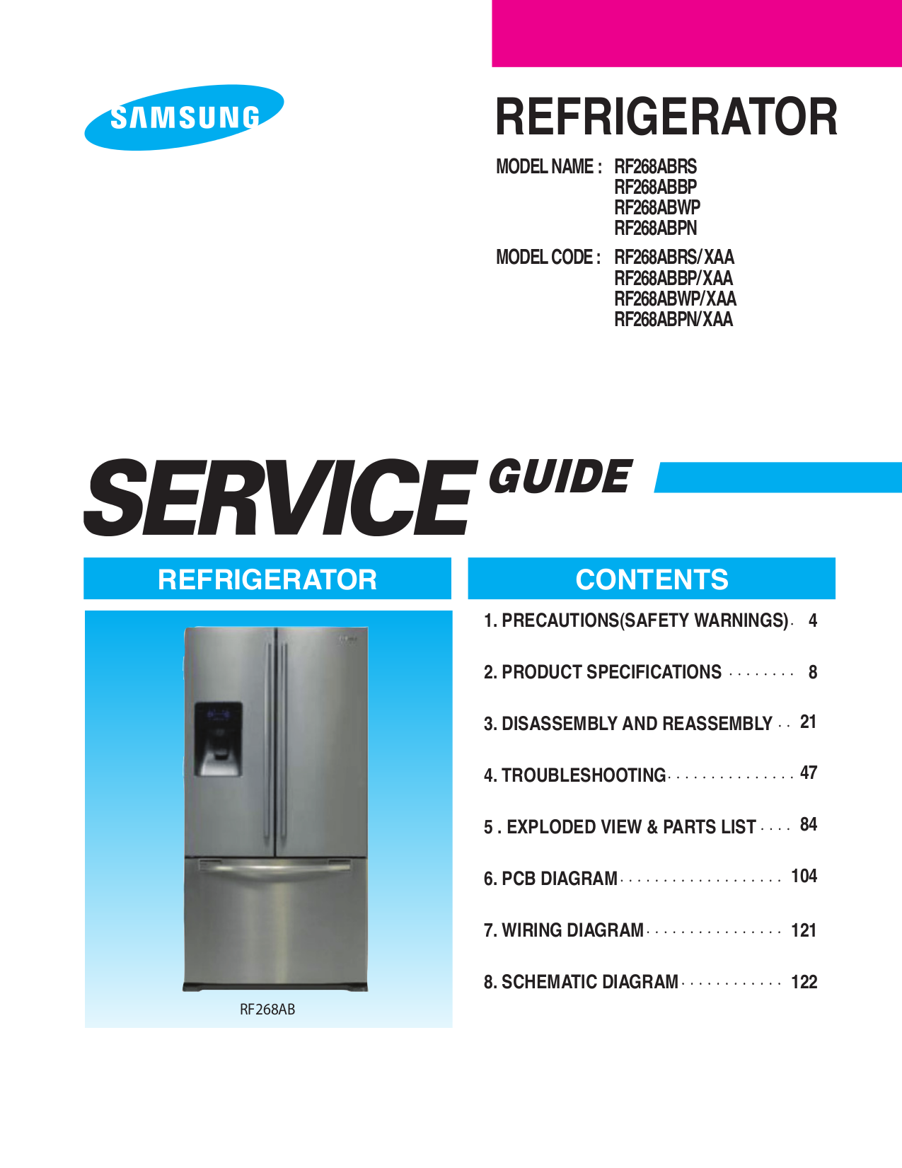 Samsung Refrigerator RF268ABPN pdf page preview