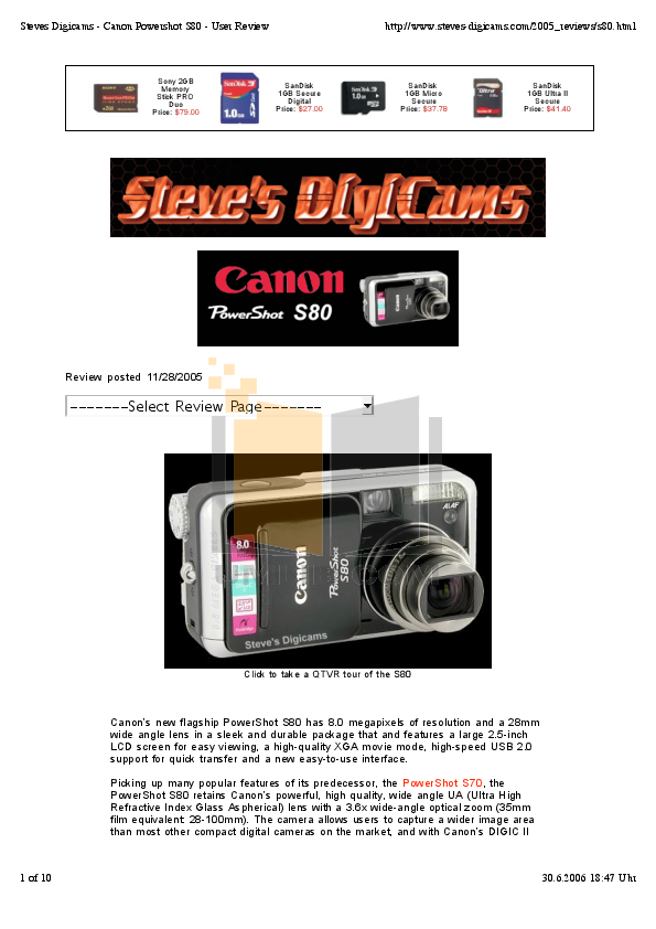 pdf for Canon Digital Camera Powershot S80 manual