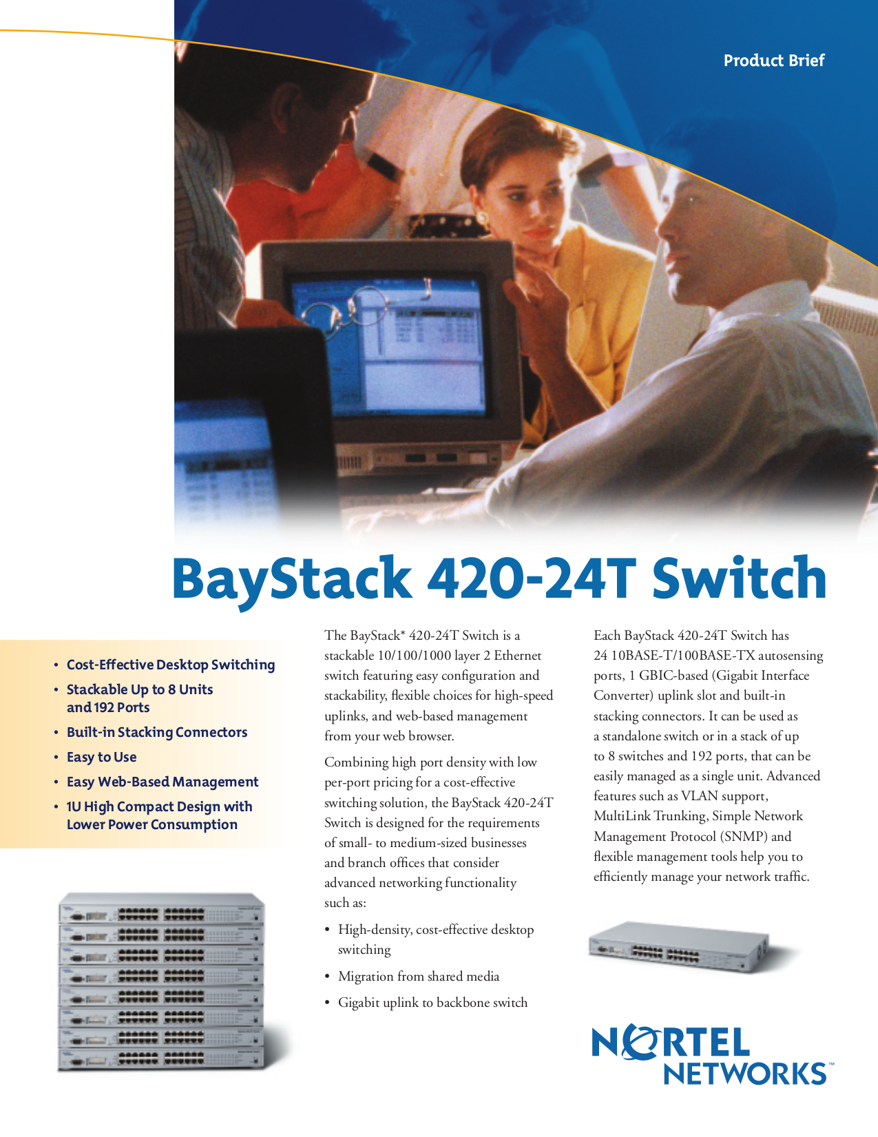 pdf for Nortel Switch BayStack 420-24T manual