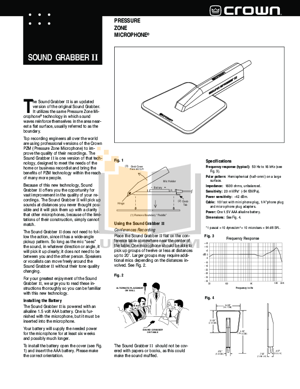 pdf for Crown Other Sound Grabber II Microphones manual