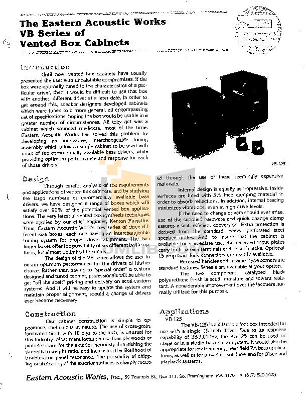 pdf for Eaw Speaker System VB225 manual