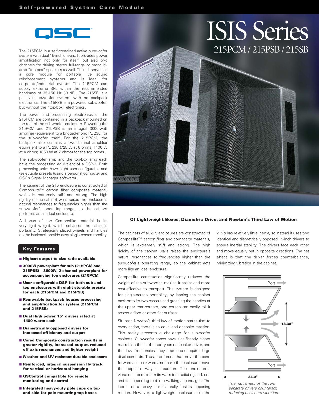 pdf for QSC Subwoofer ISIS 215PCM manual
