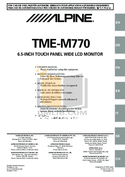 pdf for Alpine Car Video TME-M770 manual