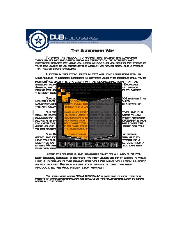 pdf manual for audiobahn car receiver dub1200 rh umlib com 12 in Audiobahn Dual Coil Speaker Wiring Audiobahn Subwoofers