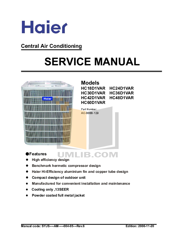 PDF manual for Haier Air Conditioner HB2400VD2M20 on