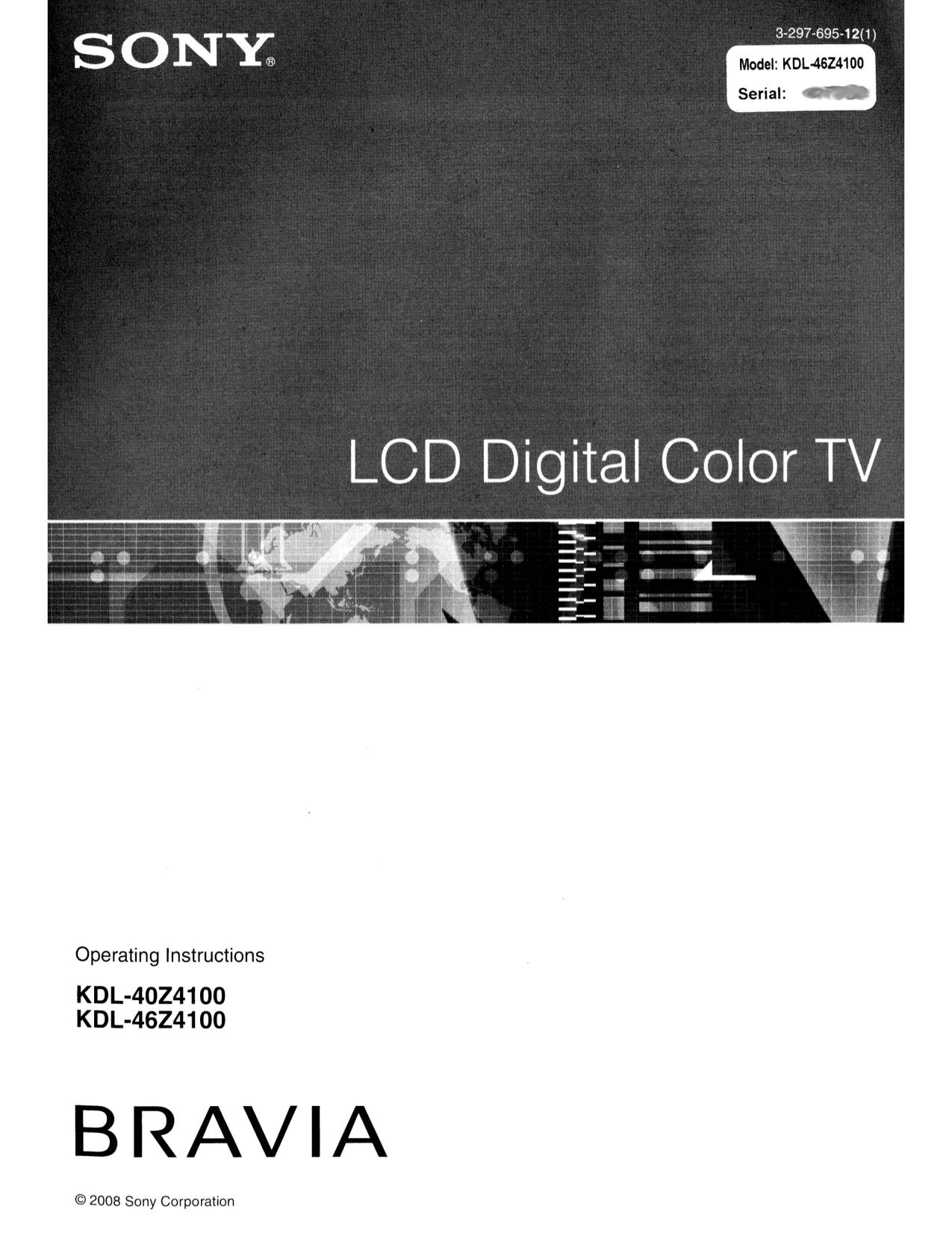 pdf for Sony TV BRAVIA KDL-40Z4100 manual