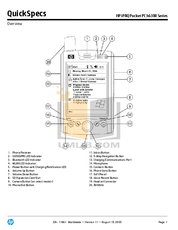 pdf for HP Cell Phone iPAQ h6340 manual