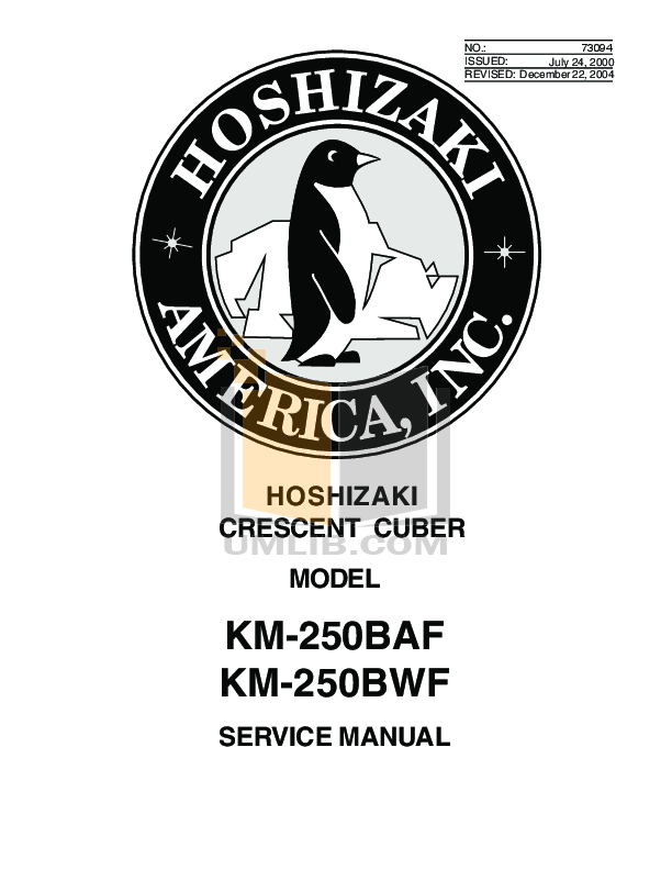 pdf for Hoshizaki Other KM-250BWB Cuber Machines manual