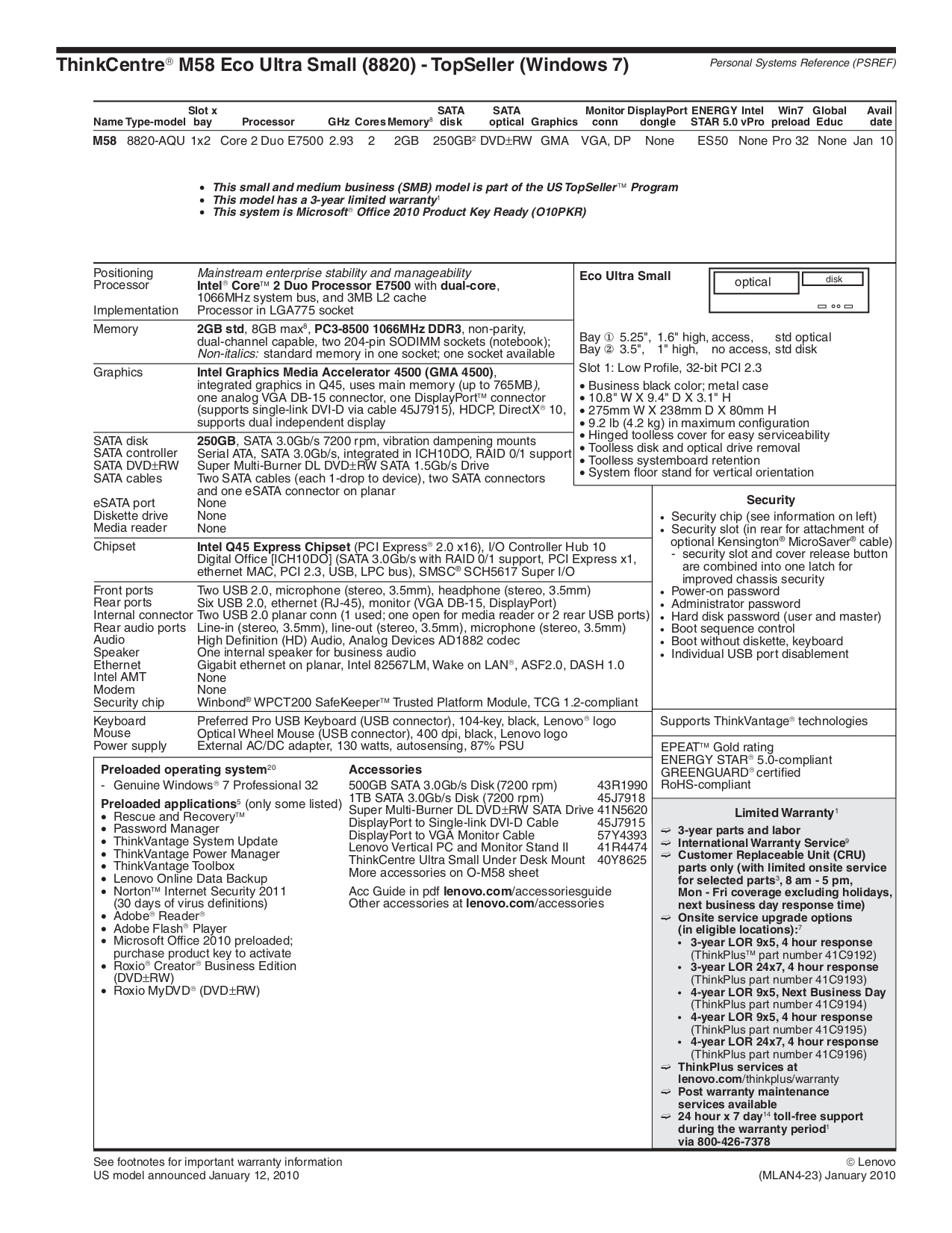 pdf for Lenovo Desktop ThinkCentre M58 8820 manual