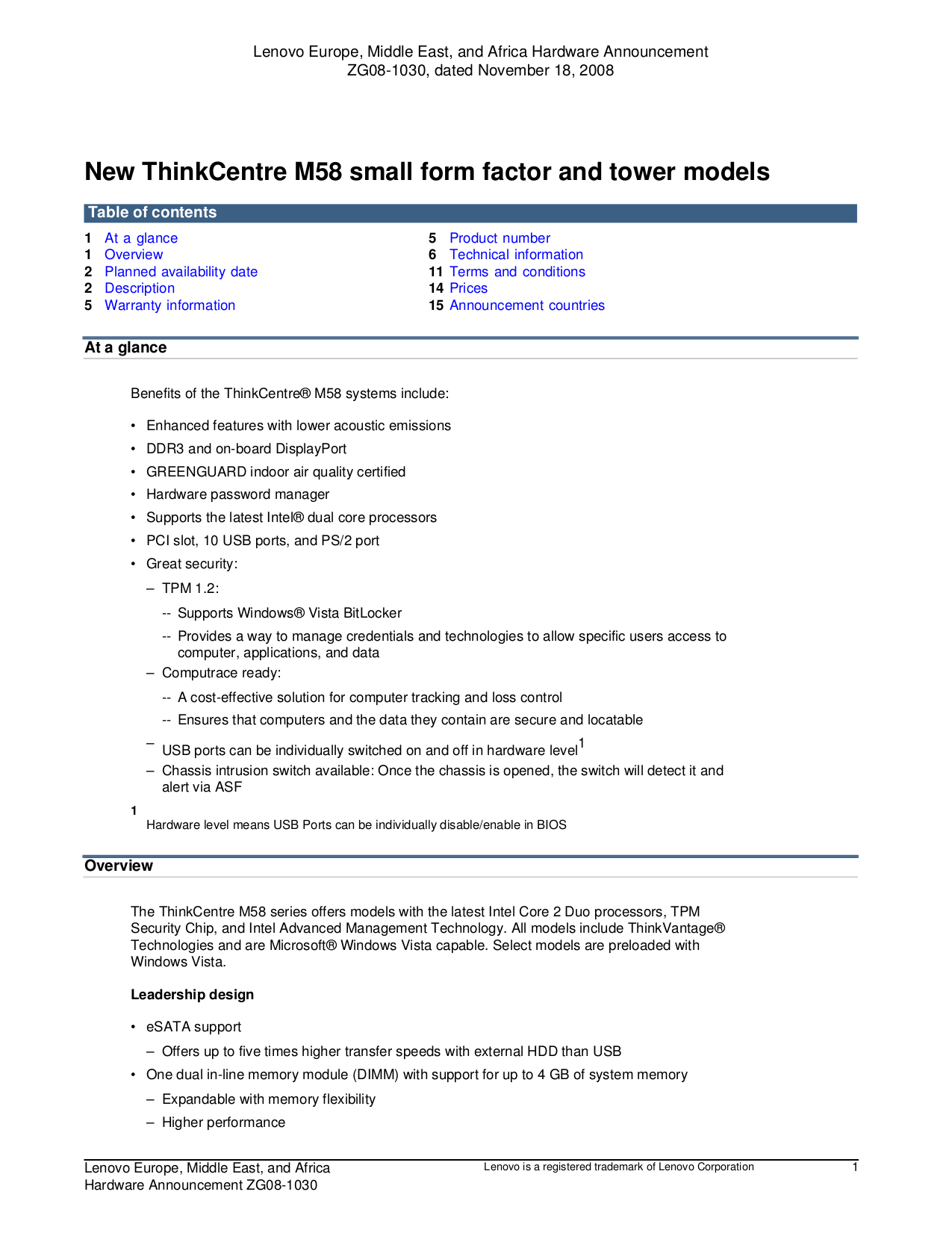 pdf for Lenovo Desktop ThinkCentre M58 9960 manual