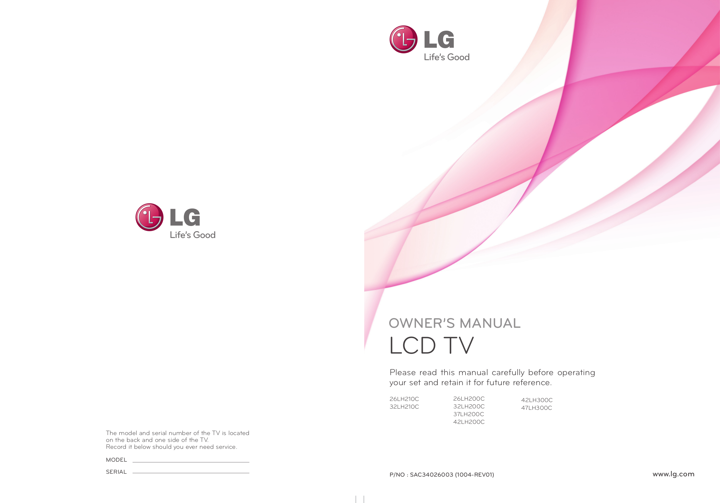 pdf for LG TV 37LH200C manual