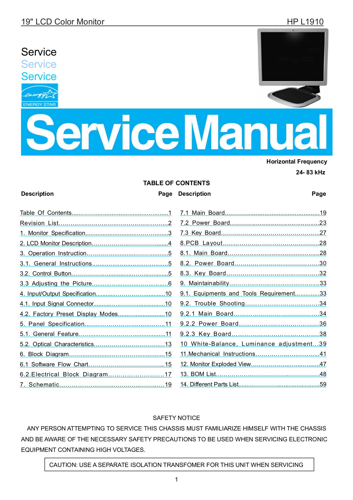 Download Free Pdf For Hp L1910 Monitor Manual
