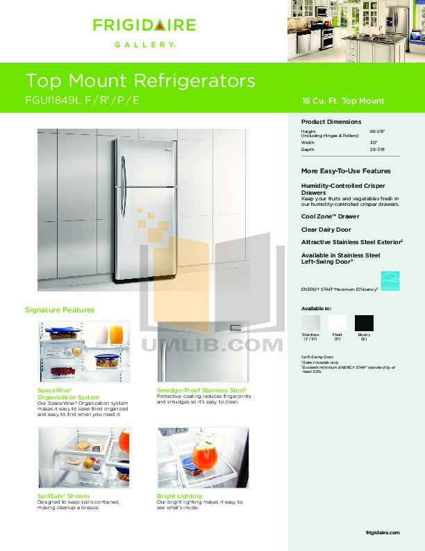 pdf for Frigidaire Refrigerator FGUI1849L manual
