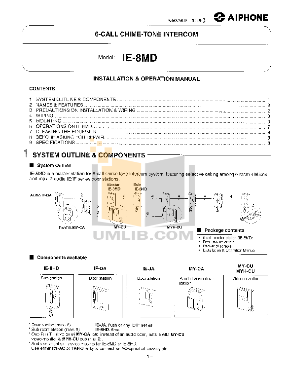 pdf for Aiphone Other MY-DA Intercoms manual