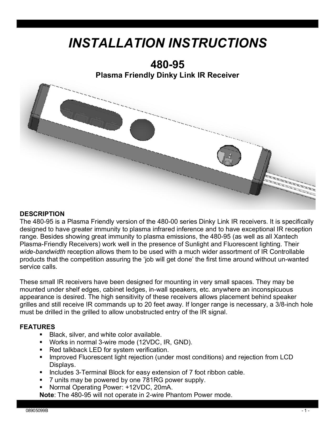 Download free pdf for Xantech 480-85 Receiver manual