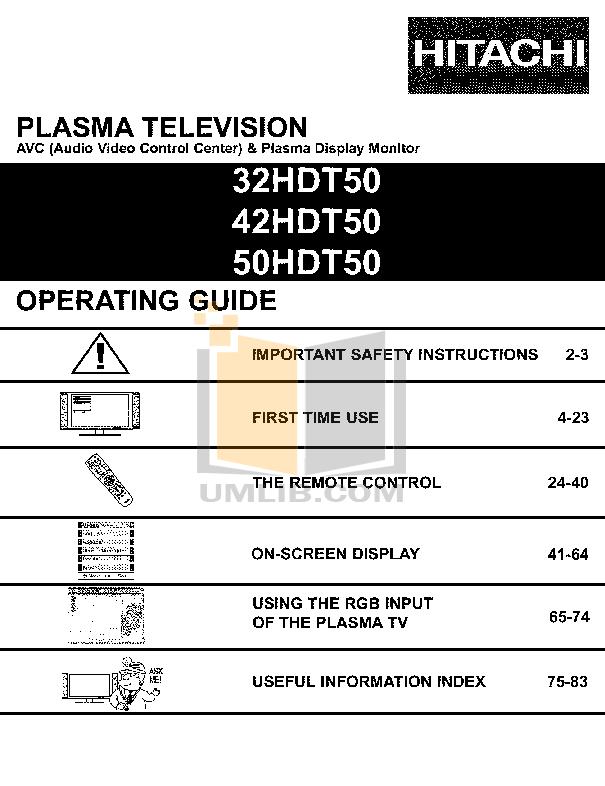 pdf for Hitachi TV 50HDT50 manual