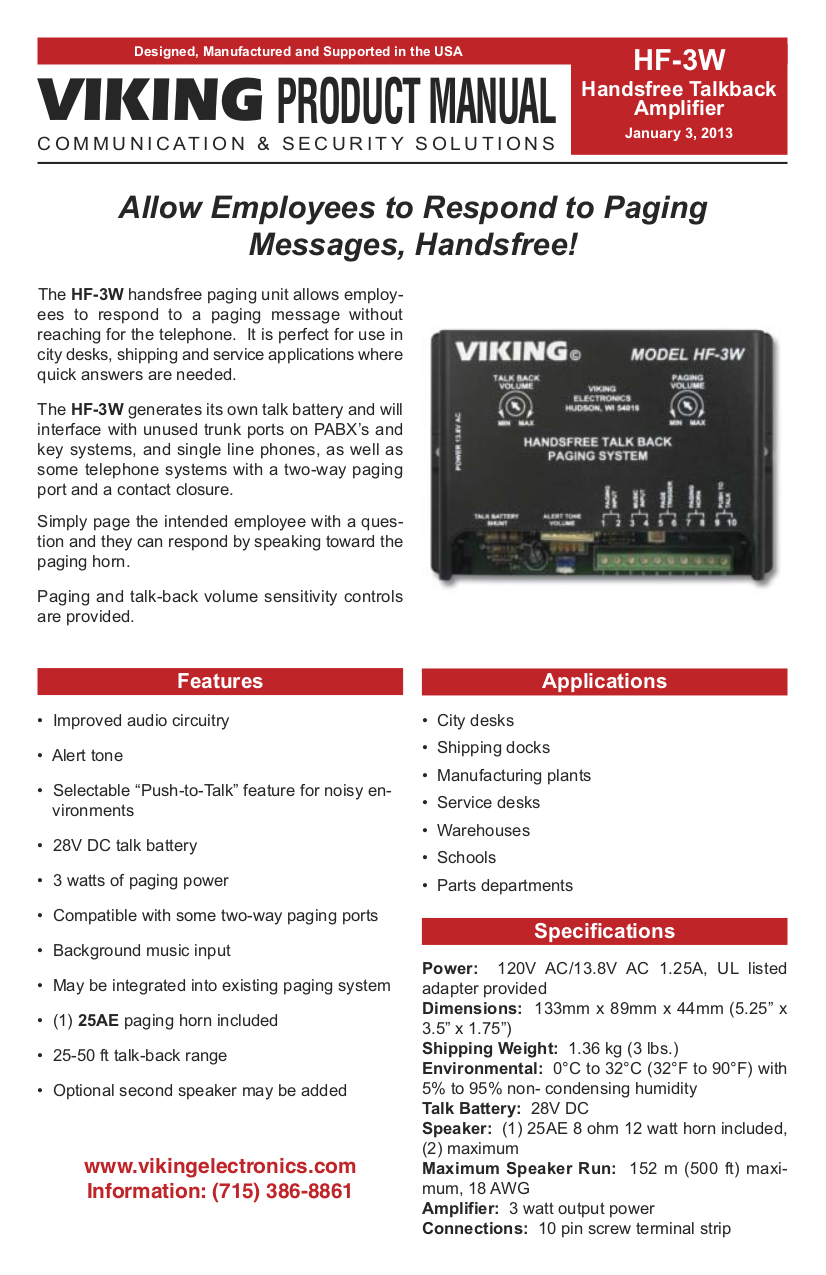 pdf for Viking Other HF-3W Handsfree Paging manual