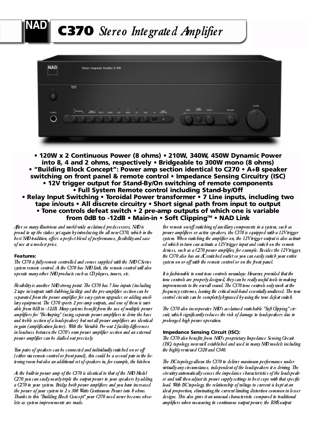 download free pdf for nad c370 amp manual rh umlib com nad c 370 review nad c 370 review