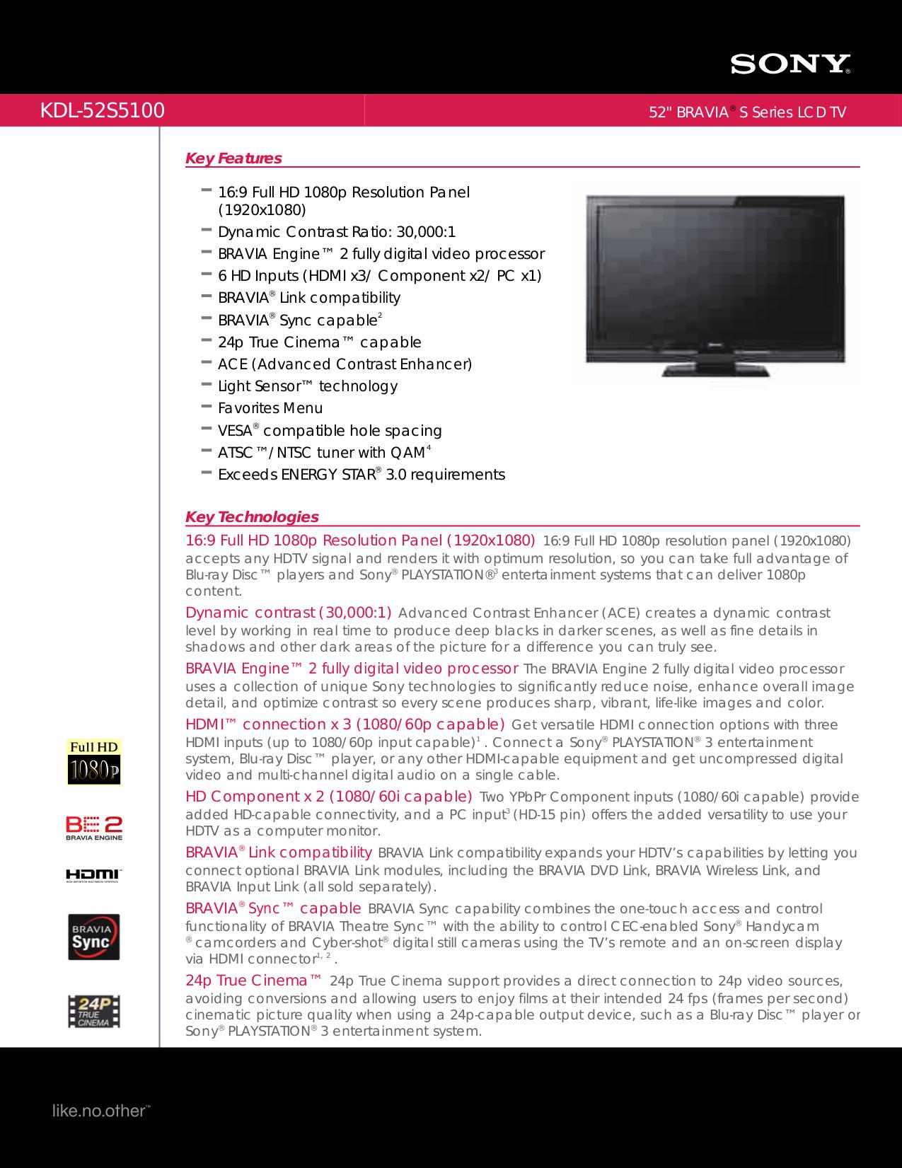 Sony bravia kdl-52s5100 manuals.