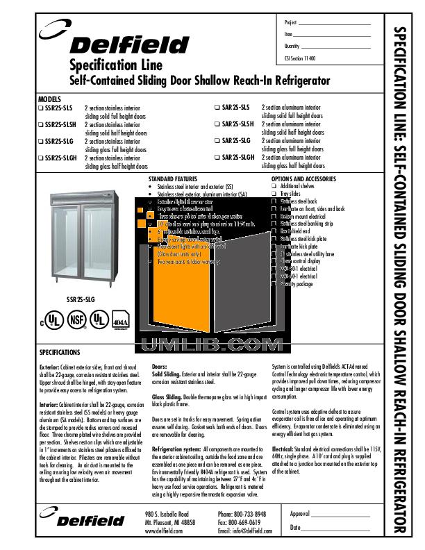pdf for Delfield Refrigerator SAR2-S manual