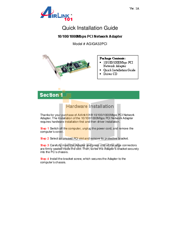 Airlink Other AGIGA32PCI Adapters pdf page preview