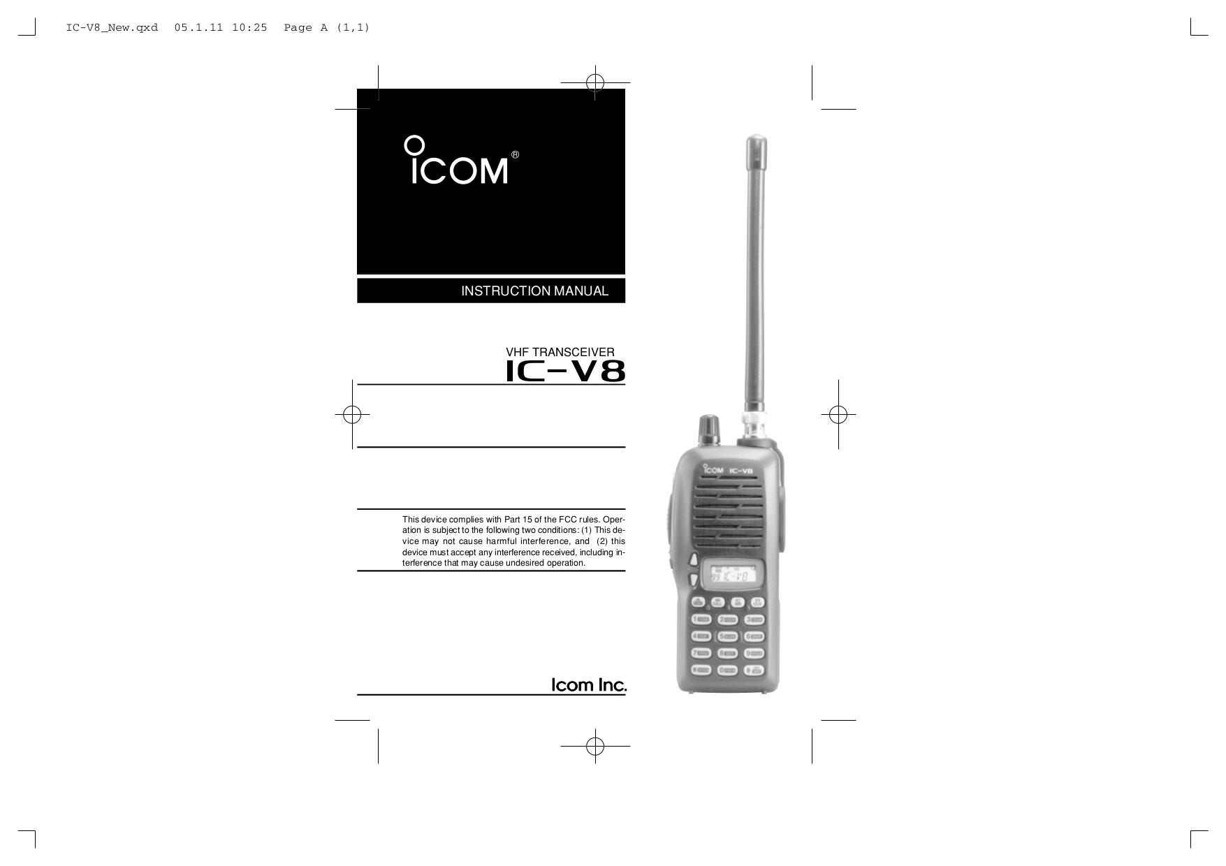 download free pdf for icom ic v8 2 way radio manual rh umlib com Mods Icom IC V8 Icom IC V8 Battery Charger
