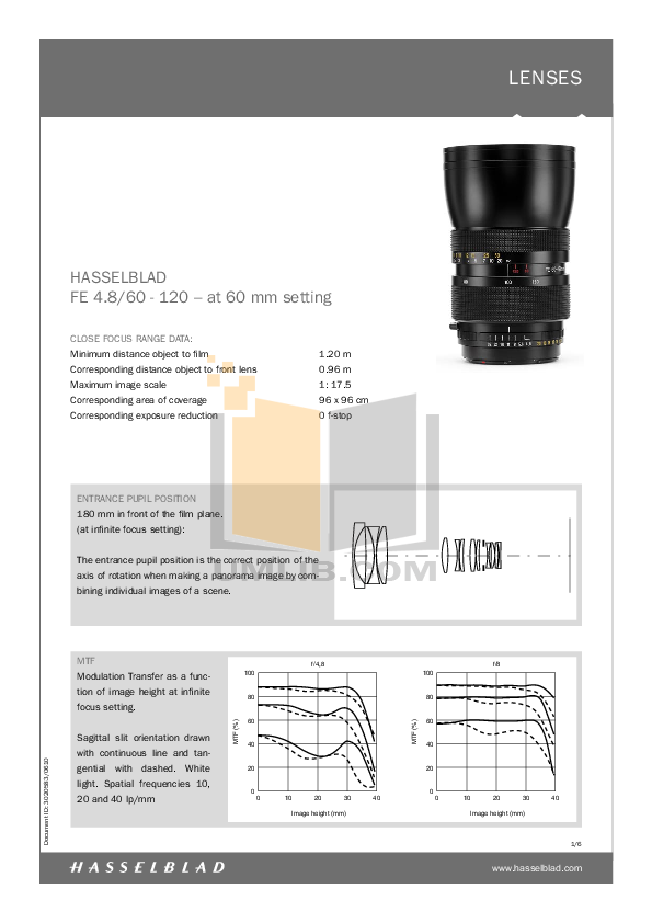 PDF manual for Hasselblad Other FE 60-120 Camera Lens