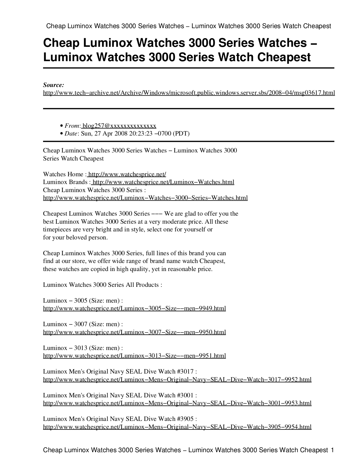 pdf for Luminox Watch Navy SEAL 3905 manual