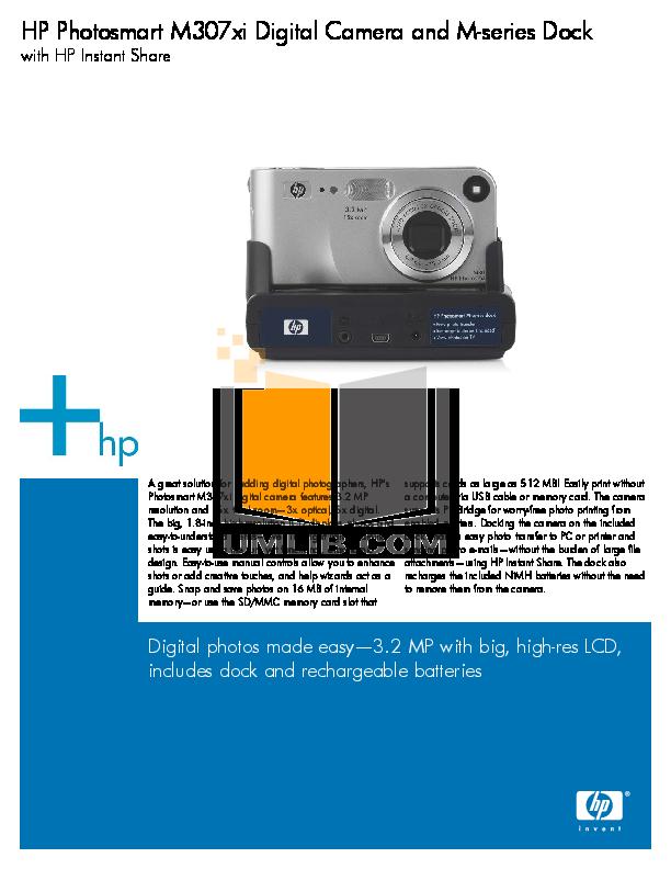 pdf for HP Digital Camera Photosmart M307xi manual