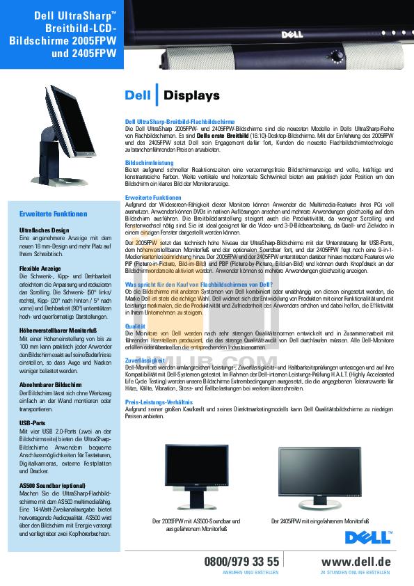pdf for Dell Monitor UltraSharp 2005FPW manual