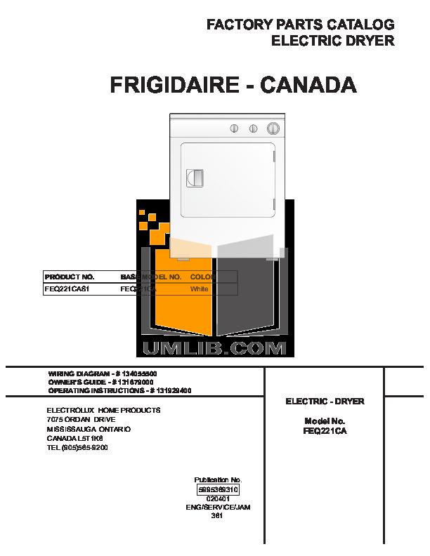pdf for Frigidaire Dryer FEQ221CAS1 manual