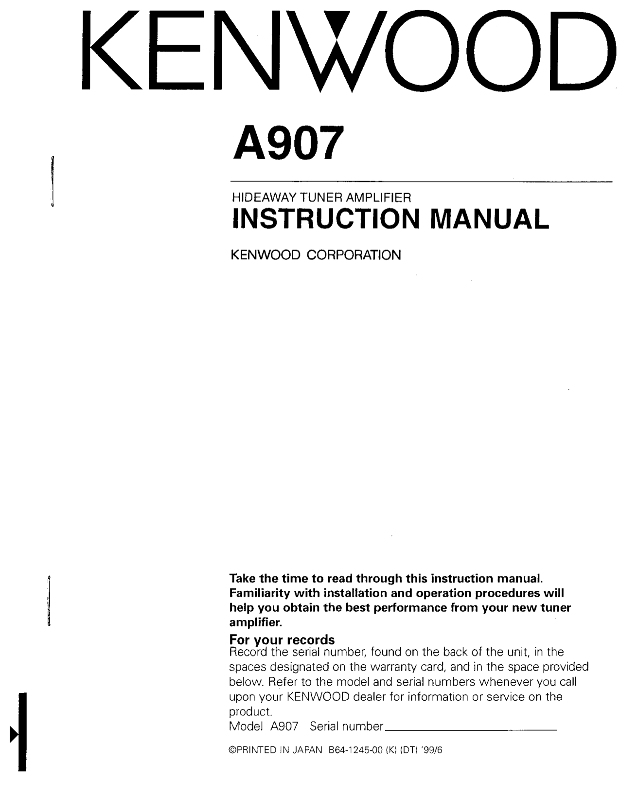 pdf for Kenwood Amp A907 manual