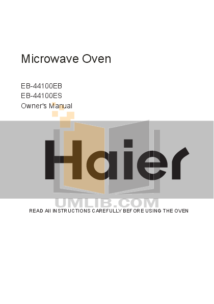 pdf for Haier Microwave EB-40100E manual
