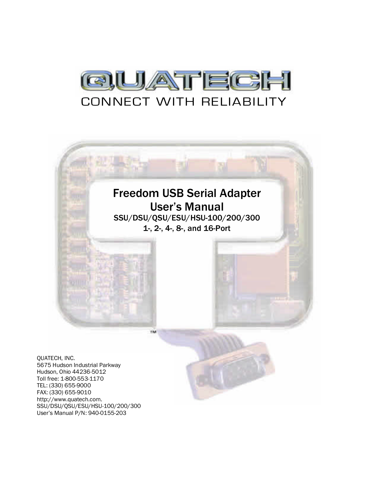 pdf for Quatech Other QSU-300 Adapters manual