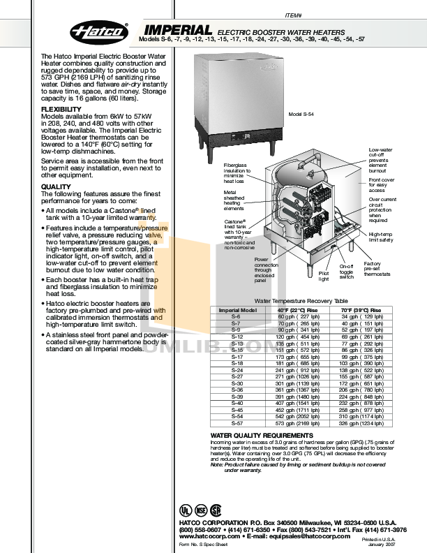 pdf for Hatco Other HL-18 manual