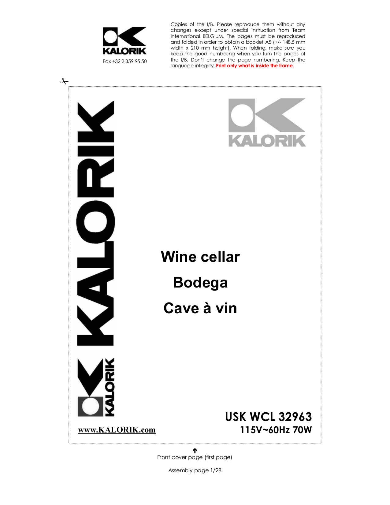 pdf for Kalorik Refrigerator WCL-1 manual