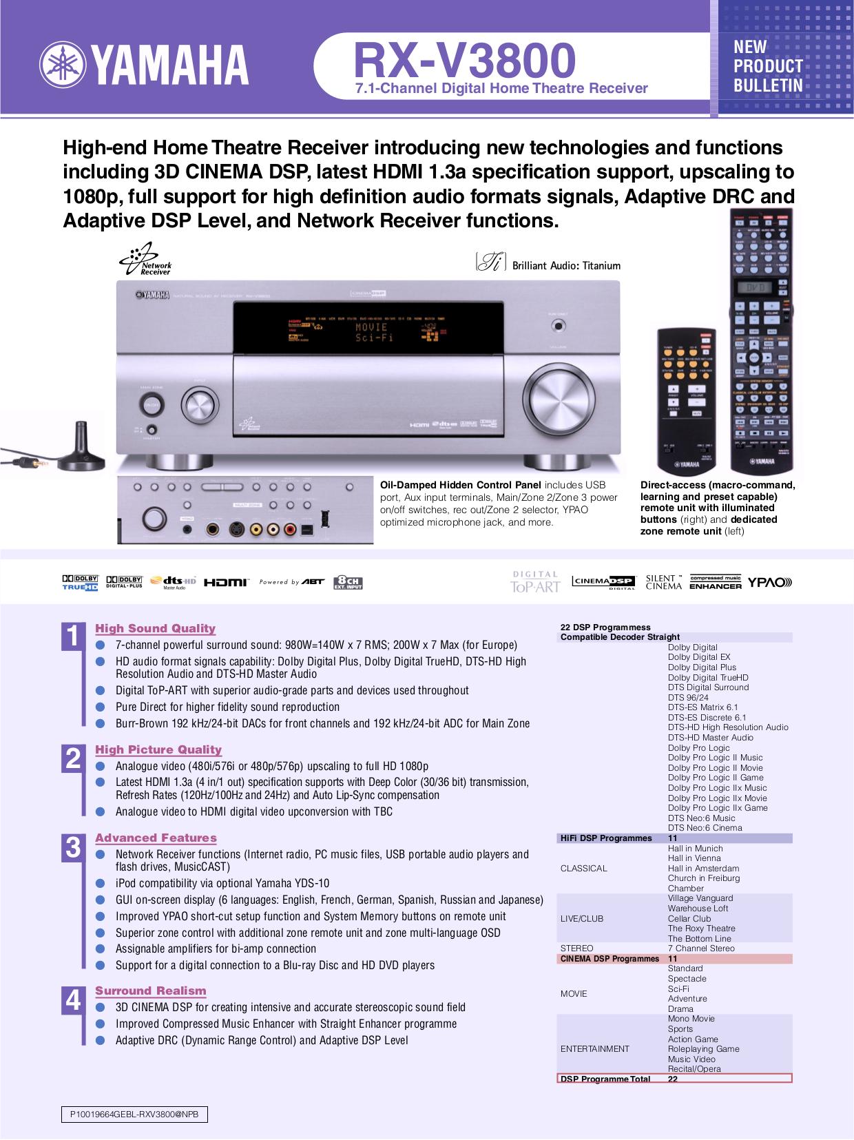 download free pdf for yamaha rx v3800 receiver manual. Black Bedroom Furniture Sets. Home Design Ideas